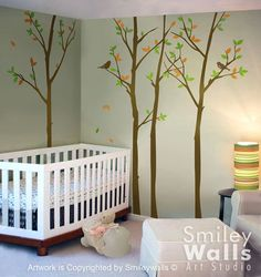 Wall Decal Forest Trees with Birds 100 inches  - Nursery Kids Decor Vinyl Wall Decal Art. $89.00, via Etsy.