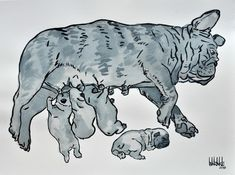 Barake Sculptor, FRENCH BULLY MATERNITY,BLUE INK ON PAPER on ArtStack #barake-sculptor #art