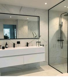 Modern Scandinavian Bathroom Interior in white - interior design ideas and . - Modern Scandinavian Bathroom Interior in White – Interior Design Ideas – moercar – Modern Sca - Modern Bathroom Design, Bathroom Interior Design, Bathroom Designs, Modern Bathrooms, Small Bathrooms, Bath Design, Dream Bathrooms, Modern Master Bathroom, Key Design