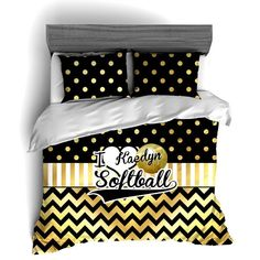 I Love Softball Themed Bedding, Gold Polka dots and Chevron Duvet or Comforter Sets
