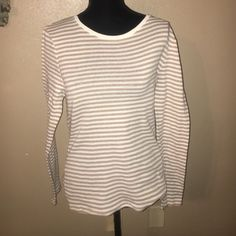 Old navy perfect fit striped large tan Tan and white perfect fit old navy large long sleeve Old Navy Tops Tees - Long Sleeve
