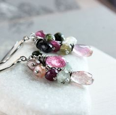 Tourmaline Cluster  Earrings  Oxidized Silver October  by Hildes