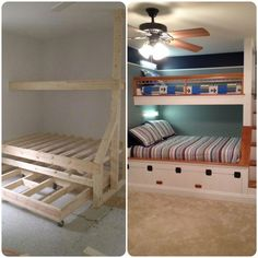 "Learn additional relevant information on ""modern bunk beds for girls room"". Browse through our site. Bunk Beds Built In, Modern Bunk Beds, Bunk Beds With Stairs, Kids Bunk Beds, Loft Spaces, Small Spaces, Bunk Rooms, Decoration Inspiration, Bed Plans"