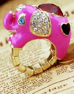 Red Gemstone Gold Elephant Ring pictures