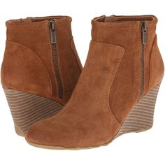 Kenneth Cole Reaction Tell Lilly Pad Women's Zip Boots, Tan featuring polyvore, fashion, shoes, boots, ankle booties, ankle boots, tan, tan booties, wedge ankle boots, leather boots and high heel booties