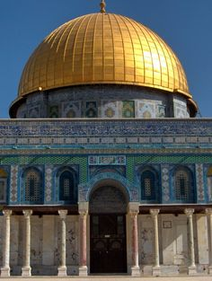 The Dome of the Rock is a shrine located on the Temple Mount in the Old City of Jerusalem. The domed central plan structure was patterned after the Christian Church of the Holy Sepulchre.