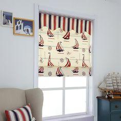 Nursery Blinds, Sailing Boat, Light Filter, Easy Install, Drapes Curtains, Roman Shades, Green Colors, Kids Room, Cartoon