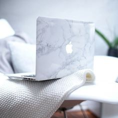 White Marble Macbook Decal