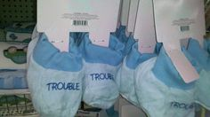 """Gendered Kids Stuff: Blue """"Trouble"""" Booties (click thru for more) because misbehaving is manly Social Science Project, Gender Roles, Baby Booties, Pink Blue, Baby Boy, Reusable Tote Bags, Classroom, Boys, Girls"""