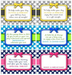 Random Acts of Kindness {RAKs} Cards ~ Free Printables!!