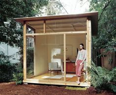 Ready-made backyard open-frame shed studio. Looks DIY-able with recycled materials and some patience. For yoga, writing, quiet solitude.