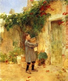 Boy with Flower Pots: 1888 by Childe Hassam (Private Collection - sold at auction as per Artnet.com) - Impressionism