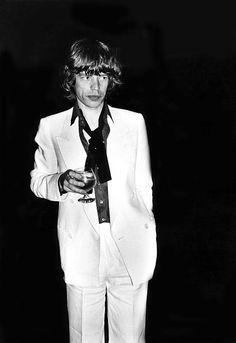Mick Jagger at Studio 54 at Bianca Jagger's birthday party, NYC, May 1977.