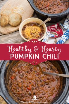 Delicious, healthy, hearty pumpkin chili - just in time for football season and to welcome fall! This slow cooker chili is incredibly easy to make, freezes well, and is incredibly flavorful and nutritious. Serve topped with cheese or poured over baked potatoes. Pin to save for your next game-watching gathering or to enjoy for your next meal with family around the table!