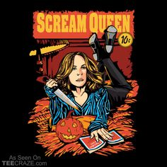 Slasher Fiction T-Shirt Designed by daletheskater. #TeeCraze #ScreamQueen #Horror #Halloween #tshirt