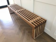 Sonora Bench - White Oak Our Sonora bench is built out of solid white oak and is the perfect accent Furniture Risers, Simple Furniture, Diy Outdoor Furniture, Furniture Projects, Wood Furniture, Diy Bank, Diy Wood Bench, Oak Bench, White Oak Wood