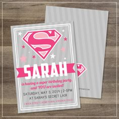 Pink Superman Birthday Party Invitation | Digital File | $11.99 | Amanda Franks Design