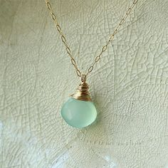 Aqua Blue Necklace Chalcedony Sea Ocean Color Gem Stone Pendant Gold Silver Necklace - Delicate Simple Modern Jewelry - CUBE by 5050 STUDIO via Etsy