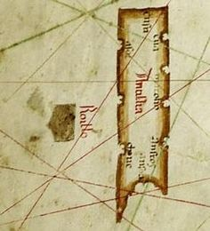 Map of Albino de Canepa, 1489. Phantom island of Antillia, with its Seven Cities, is on the right; the smaller companion island of Roillo is on the left.
