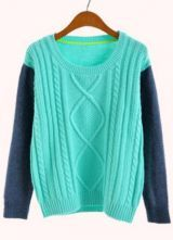 Turquoise Contrast Long Sleeve Cable Knit Sweater $36.77 #SheInside
