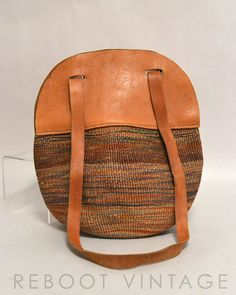Vintage Sisal Bag - Woven Muted Tones with Tan Supple Leather. $65.00, via Etsy.