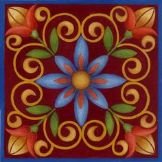 Red Tile Needlepoint Kit by Stephanie Stouffer Tuile, Clay Tiles, Needlepoint Kits, Mexican Art, Barn Quilts, Tile Art, Ceramic Painting, Tile Patterns, Oeuvre D'art