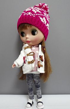 blythe hat knitted doll  Fair Isle (hot pink)
