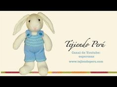 Conejos tejidos en dos agujas o palillos: overol (overall) del conejito - YouTube Knitting Bear, Love Crochet, Smurfs, Diy And Crafts, Teddy Bear, Disney Characters, Bunny Rabbits, How To Make, Animals