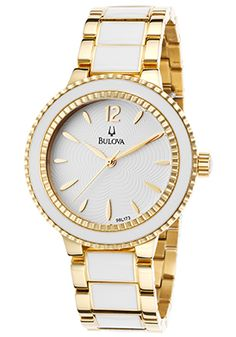 Bulova Gold-Tone Steel And White Ceramic Bracelet White Dial 3ed1369172e