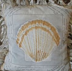 Hand Painted Seashell Pillow Quilted Seaside by paintedquilts