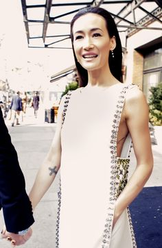 Maggie Q's crystal-embellished tunic-and-pant ensemble — a modern take on Chinese traditional attire