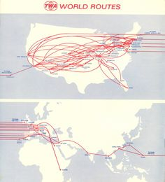 TWA Route Map 1972.