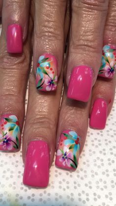 41 Magnificient Fall Beach Nails Designs Ideas - All subject Tropical Nail Designs, Tropical Nail Art, Beach Nail Designs, Flower Nail Designs, Best Nail Art Designs, Toe Nail Designs, Floral Designs, Cruise Nails, Vacation Nails