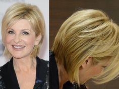 German TV presenter has a great blonde cut for older women. LOVE the thinned out back of this bob.