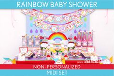 rainbow baby shower | Rainbow Baby Shower Package Collection Set Midi NonPersonalized ...