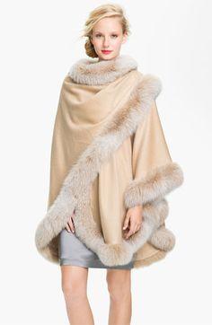 Sofiacashmere Genuine Fox Fur Trim Cape available at #Nordstrom