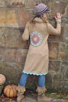 brown tunic sweater   BOHEMIAN YOGA hippie brown beige sweater COAT tunic with felt mandala ...