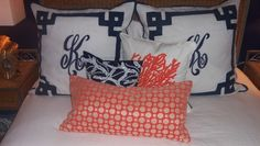 Coastal Orange and Blue Pillows