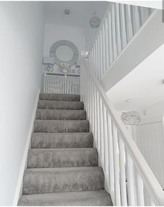Discount Carpet Runners By The Foot – carpet stairs Grey Stair Carpet, Carpet Staircase, Stairs And Hallway Ideas, Grey And White Hallway, Landing Decor, Stair Landing, Decor Home Living Room, Home Decor, Home And Living