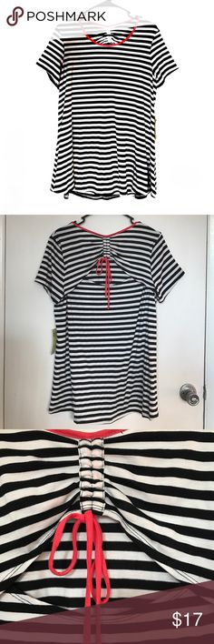 """✔️NWT Striped Shirt Brand new with tag. Striped. Soft. Has a """"peek-a-boo"""" accent at the back. Materials on the last photo. PenSeption Concept Tops Blouses"""