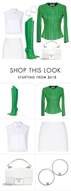 """Senza titolo #1865"" by granatina ❤ liked on Polyvore featuring Versace, Helmut Lang, La Perla, Prada, Chanel, GREEN and GreenandWhite"