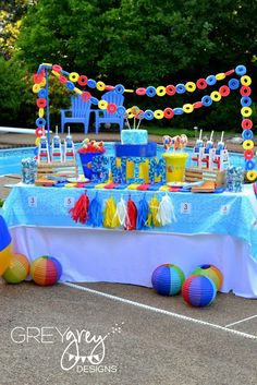 Pool Party Ideas so many amazing details! Beach ball - Beach Ball - Ideas of Beach Ball - Pool Party Ideas so many amazing details! Beach ball party Curated by: EcoCircuit Distributors Pool Party Themes, Pool Party Kids, Pool Party Decorations, Luau Party, Party Ideas, Diy Ideas, Beach Ball Birthday, Beach Ball Party, 1st Birthday Parties