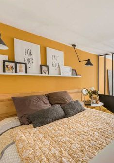 Room Design Bedroom, Room Ideas Bedroom, Home Decor Bedroom, Yellow Bedroom Paint, White Wall Bedroom, Living Room Colors, Bedroom Colors, Room Paint Designs, Red Rooms