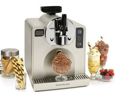 Nostalgia Soft Serve Ice Cream and Frozen Dessert Machine Commercial Ice Cream Machine, Ice Cream Maker Machine, Icecream Machine, Cool Kitchen Gadgets, Kitchen Items, Cool Kitchens, Soft Serve Machine, Cooking Gadgets, Bons Plans