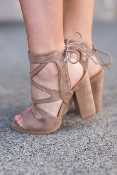 Block Party Strappy Suede Lace Up Detail Chunky Heel (Taupe) from NanaMacs Boutique. Saved to shoes (; Cute Heels, Lace Up Heels, Strappy Heels, Pumps Heels, Stiletto Heels, Chunky Heel Sandals, High Heels, Dream Shoes, Crazy Shoes