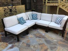 how to rehab your outdoor furniture and stained cushions, outdoor furniture, outdoor living, painted furniture, the cushions cleaned up with a lot of elbow grease