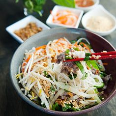 Vietnamese bun bo xao - beef noodle salad.  Flavor heaven in a bowl: rice noodles, beef stir-fry, herbs, vegetables, and magic.