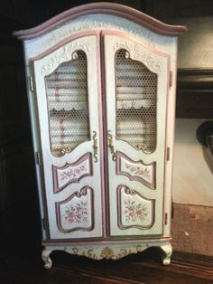 Dollhouse Miniature Artisan Rosemarie Torre Wardrobe with Painted Flower Roses