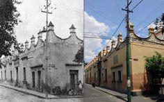 La antigua Casa de Moneda de Tlalpan, ubicada en la esquina de Moneda y Benito Juárez, hacia 1946 y en la actualidad. Este inmueble tuvo dicha función entre 1828 y 1830, cuando Tlalpan era la capital del Estado de México, y años más tarde, según diversas fuentes, aquí se hospedó la emperatriz Carlota; hoy alberga a la Secundaria 29.