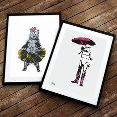 Fredag! Bamsemums vil ut å danse Storm vil holde seg inne slik at han slipper å gå med paraply. Se vår forrige post for å være med i konkurransen hvor du kan vinne din favorittplakat. Ha en superfin kveld!